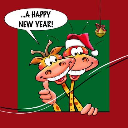Leuke nieuwjaarskaart met giraf en vuurwerk 2