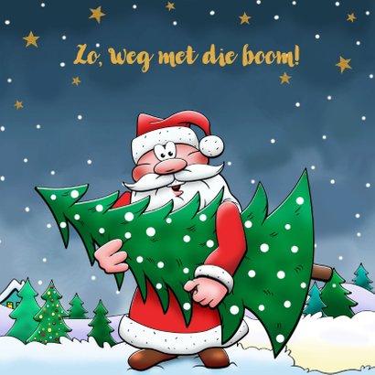 Leuke nieuwjaarskaart met vliegende kerstman en sneeuwpop 3