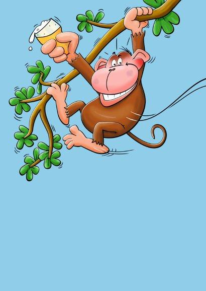 Leuke verjaardagskaart met swingende  aap met cool biertje 2