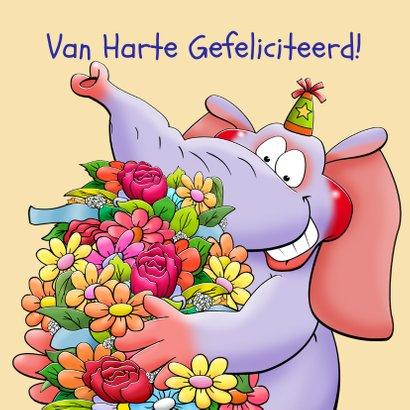 Leuke verjaardagskaart olifant in brief met bloemen 3