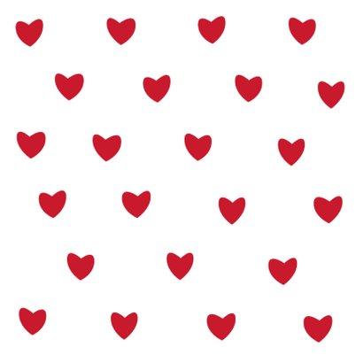 Leuke verjaardagskaart witte hartjes op rode achtergrond 2