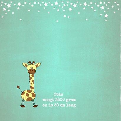 Lief en stoer blauw groen geboortekaartje girafje 2