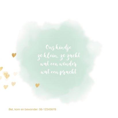 Lief geboortekaart watercolor hartjes 2