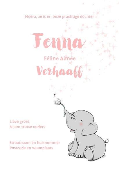 Lief geboortekaartje met olifantje en wensbloem voor meisje 3