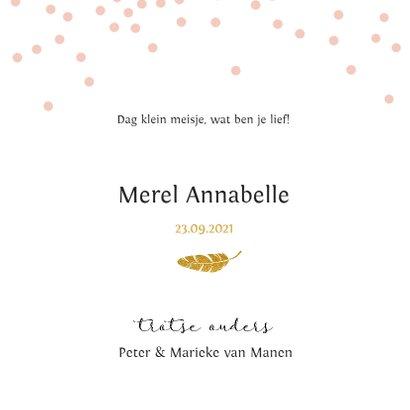 Lief geboortekaartje met roze confetti en gouden veertje 3