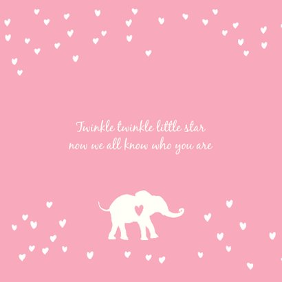 Lief geboortekaartje met silhouet van olifantjes en hartjes 2