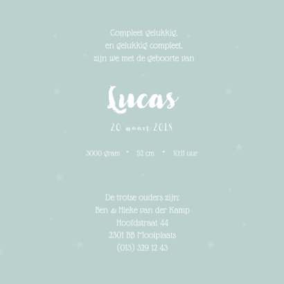 Lief geboortekaartje met sterretjes  3