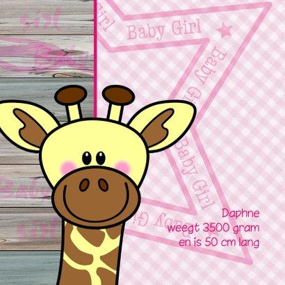 Lief geboortekaartje ROZE giraf 2