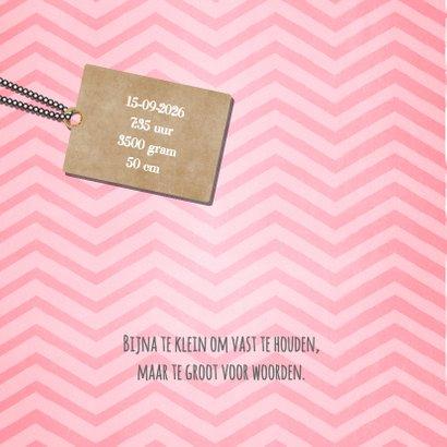 Lief hip roze zigzag streep geboortekaartje foto 2