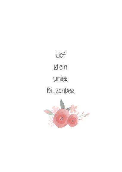 Lief meisjeskaartje met watercolor bloemen 2