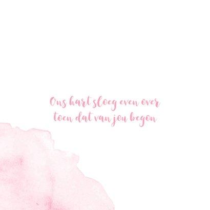 Lief waterverf vierkant geboortekaartje in het roze 2