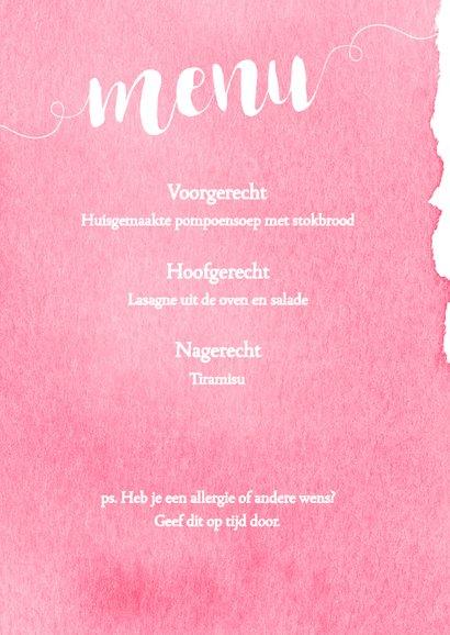 Menukaart 21 diner waterverf roze - DH 2