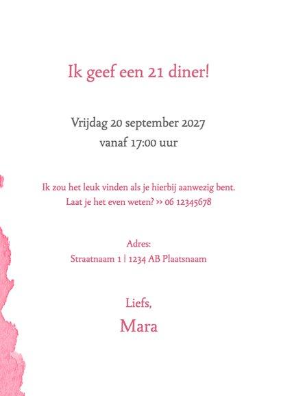 Menukaart 21 diner waterverf roze - DH 3