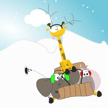 Mocards sneeuw kerst slee kaart 2