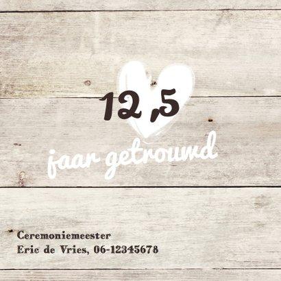 Mooie foto jubileum kaart  12,5 jaar getrouwd - hout 2