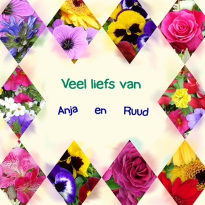 Mooie verjaardagkaart segmenten met bloemen 3