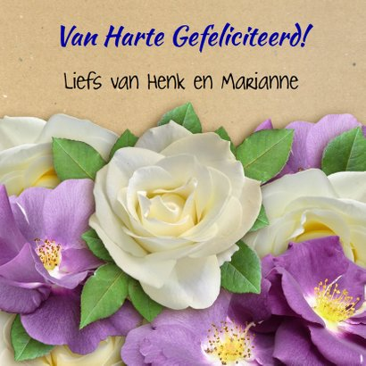 Mooie verjaardagkaart witte en paarse wilde rozen 3