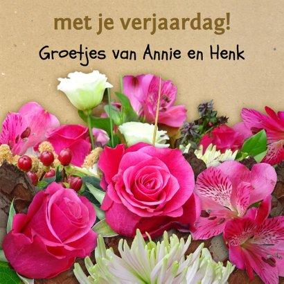 Mooie verjaardagskaart hart en bloemen 3