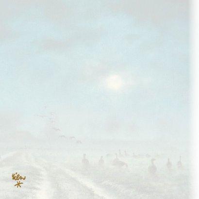 Natuurkerstkaart met wintertafereel Ganzen in het maanlicht 2