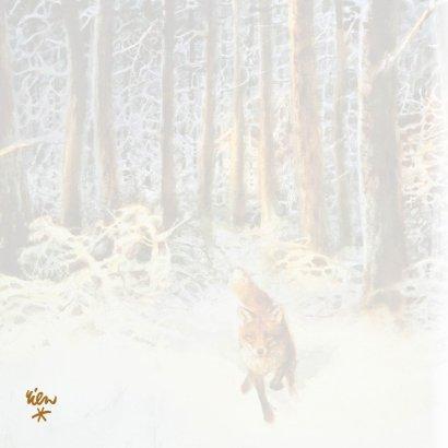 Natuurkerstkaart met wintertafereel 'Vos in het bos' 2