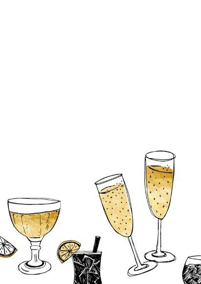 Nieuwjaarskaart champagne goud  2
