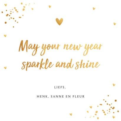 Nieuwjaarskaart fotocollage goud confetti 3