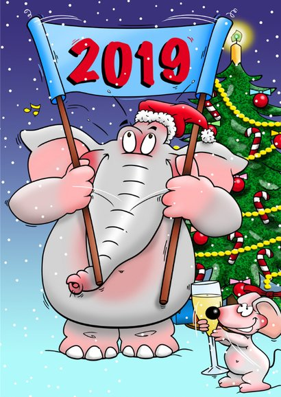 Nieuwjaarskaart met olifant en muis 3