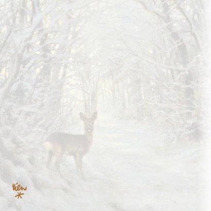 Nieuwjaarskaart met wintertafereel Hert in bos 2