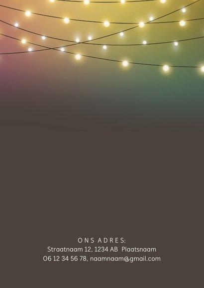 Nieuwjaarskaart uitnodiging, sfeervol met die leuke lampjes 2