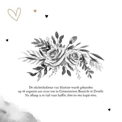 Rouwkaart stijlvol goudlook zwart wit bloemen hartjes 2
