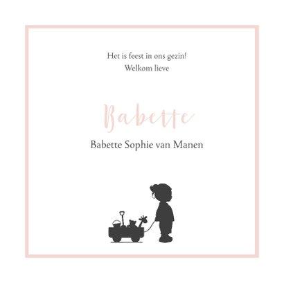 Roze geboortekaartje silhouet 3