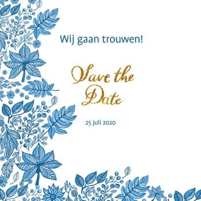 Save the date blauwe bladeren 2
