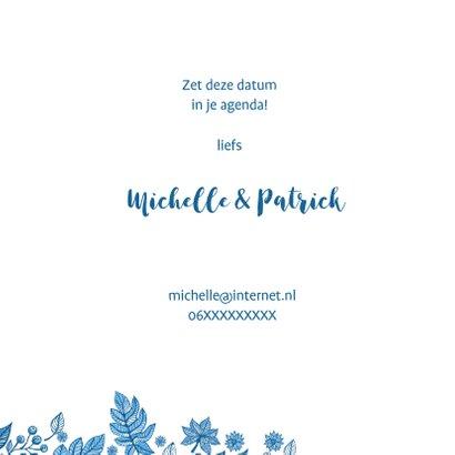 Save the date blauwe bladeren 3