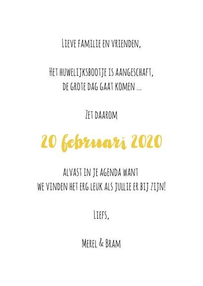 Save the Date goud hart - OT 3