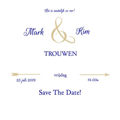 Save the date hart blauw 2