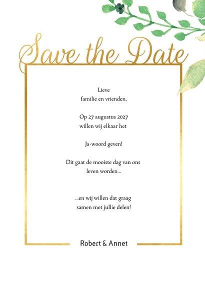 Save the Date kaart Stijlvol wit met goud 3