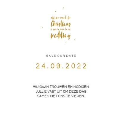 Save the Date kerstkaart met handlettering tekst 3