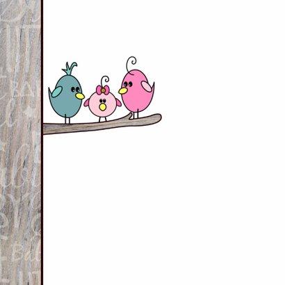 Schattig felicitatie kaartje geboorte meisje met een vogel 2