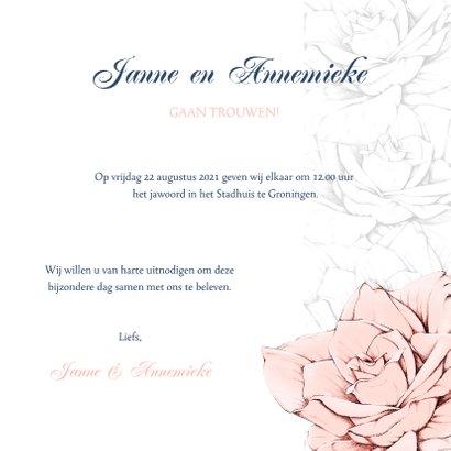 Stijlvolle en originele trouwkaart in navyblue en rozen 3