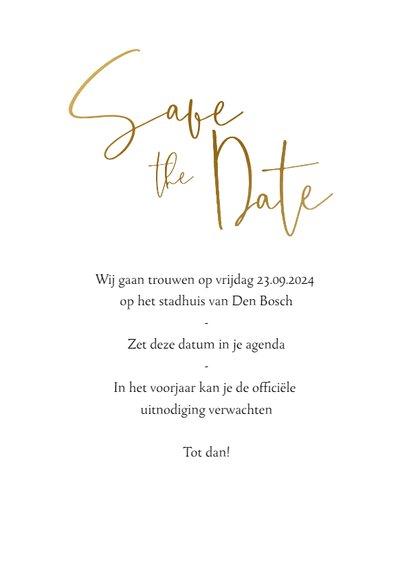 Stijlvolle save the datekaart met goudlook tekst en foto 3