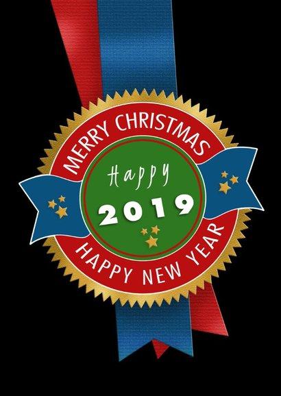 Strakke kerstkaart met linten en tekst Merry Christmas 2