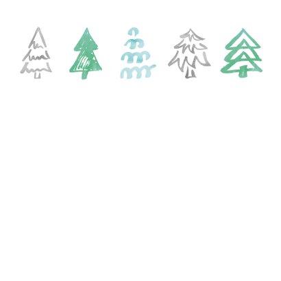 Strakke kerstkaart met patroon kerstbomen 2