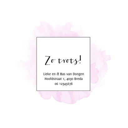 Trendy geboortekaart voor een meisje met roze waterverf 2
