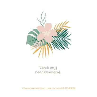 Trendy trouwkaart met tropical bladeren in pastelkleuren 2