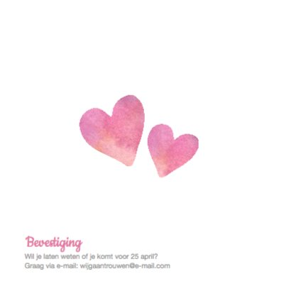 Trouwkaart aquarel hart met naam 2
