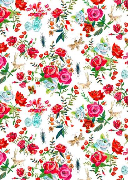 Trouwkaart bloemen rozen tuin 2