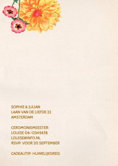 trouwkaart botanische bloemen 2