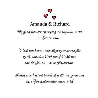 Trouwkaart bruidspaar rode hartjes 3