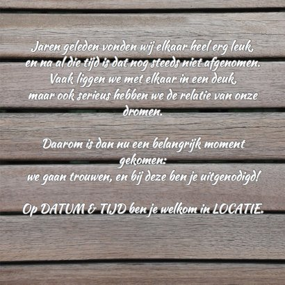 Trouwkaart collage hout RB 3