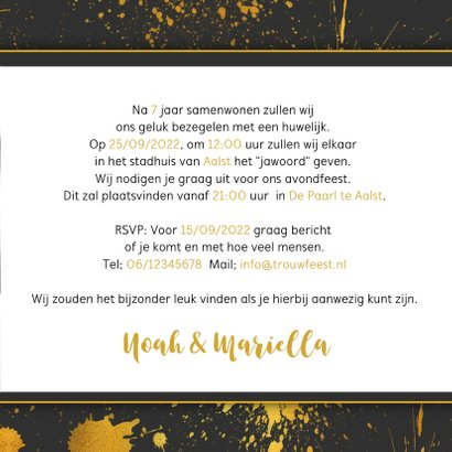Trouwkaart gouden spetters 3